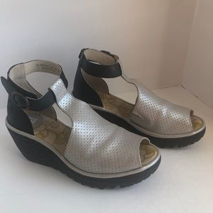 Silver and black Fly London sandals